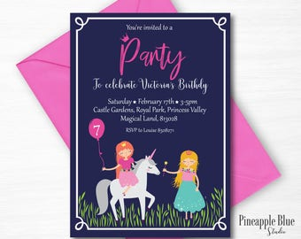 Princess Unicorn Birthday Party Invitation | Princess Party Invitation | Princess Birthday Party | Fairytale  Party | Unicorn Birthday Party