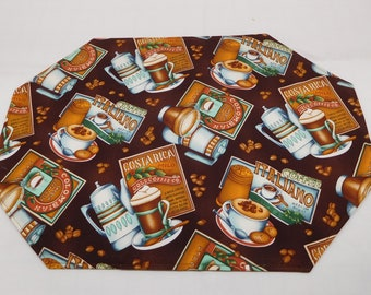 393 (2) Coffee Placemat Sets,  Coffee Lover, Coffee Place Mats, Coffee Lover Gift, Padded Placemats, Washable Placemats