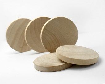 "Set of 10,  2 Inch Wide, 1/4"" Thick Solid  Wood Round Circle Discs, Wood Circle Cut-Outs"