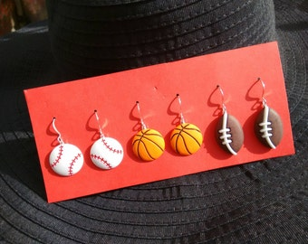 Sports earrings basketball earrings football earrings baseball earrings Brockus Creations