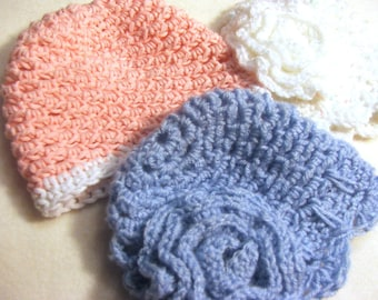 Baby Hat CROCHET Pattern  - Simple and Fast Rose Preemie and Newborn Cap pdf pattern - Instant Download