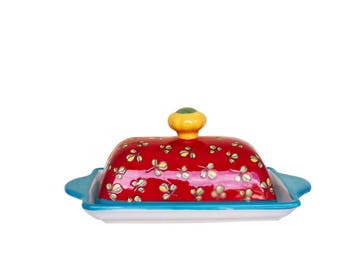 Beyond Tableware Dutch Wax Tech Ceramic  Hand Crafted Embossed Flowral Red Butter Dish