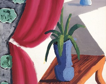 David Hockney-Still Life with Magenta Curtain-1988 Poster