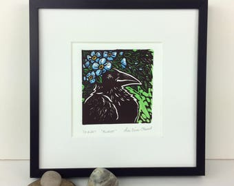 Florist-Crow with hat of flowers-Raven-Linoleum print-Printmaking-Blockprint-Woodblock
