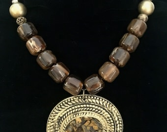 Brown & Brass beaded necklace