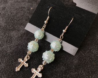 Light Blue Textured Spheres with a Cross Earrings