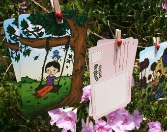In The Garden Postcards - set of 6, recycled note cards, trees and birds, sleeping cat, original illustrations