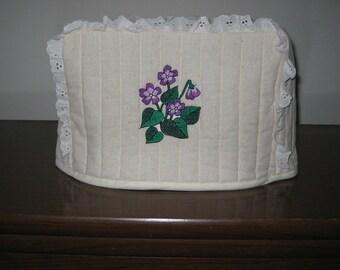 4 Slice Square Toaster Cover Violets Design