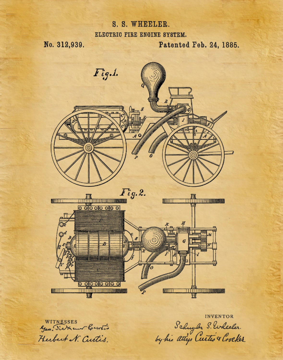 1885 Electric Fire Engine Patent Print - Fire House Decor ...