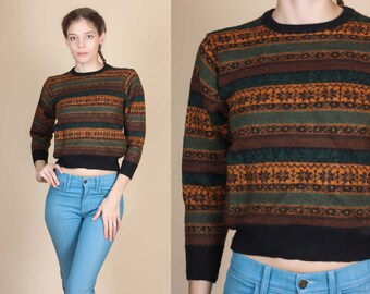 70s Fair Isle Wool Sweater - XXS // Vintage Cropped Retro Pullover Jumper