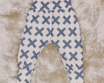 Baby pants - boy pants - boy bottoms - toddler pants - cuff pants - harem pants - boys harem pant - blue X