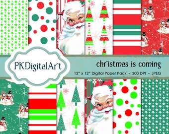 Christmas scrapbook paper; linen backgrounds, patterns, and textures in rich shades - Christmas is coming