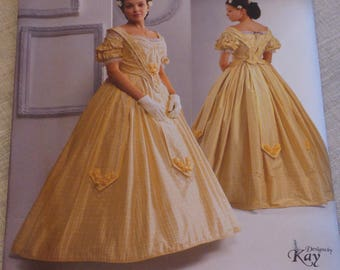 Simplicity 2881 Pattern - Civil War Ball Gown - Kay Gnagey - The Museum Curator - size 8,10,12,14 - OOP Costume Pattern