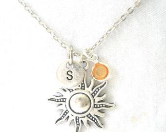 Sun Initial Birthstone Choker/ Custom Sun Necklace/ Sun Initial Necklace/ Celestial Choker/ Sun Jewellery/Personalized Necklace/ Sun Choker