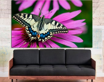 Large black yellow purple butterfly wall art print on canvas, colorful nature photography yellow butterfly flower wall art home decor poster