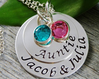 Auntie Necklace - Hand Stamped Jewelry - Personalized Jewelry - Sterling Silver Necklace - Names And Birthstones
