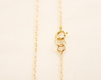 Finished 14k Gold Filled Chain Necklace - Choose Your Length - 1.3mm Round Cable Chain Necklace with Clasp - Thin Chain Necklace / FC-001