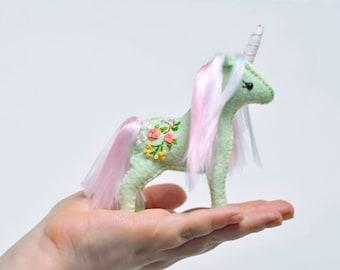 Handsewn Stuffed Felt Unicorn * Hand embroidered Baby Unicorn * Soft Sculpture Felt Animal. Unicorn Lovers Gift.