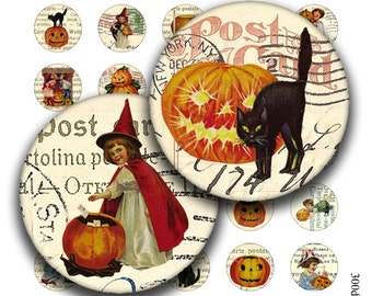 halloween circles 1 inch round images Printable Download Digital Collage Sheet diy jewelry pendant black cat pumkin witch