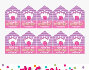 Bowling Birthday Party Printable Favor Tags - Pink Purple Girl Bowling Decorations - Digital File Label Sticker Gift Tag- Instant Download