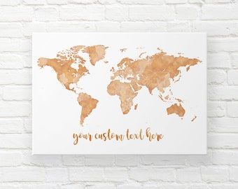 World map canvas etsy gold world map canvas pin travel map world map wall hanging world map push pin wedding map canvas custom travel map places youll go gumiabroncs Choice Image
