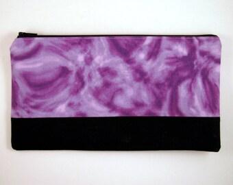 Color Block Purple Zipper Pouch, Make Up Case, Gadget Bag, Pencil Case