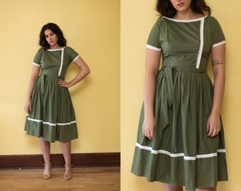 Vintage 1950's Cotton Green Polka Dot Day Dress // Full Skirt Belted Mad Men Dress -Small / Medium