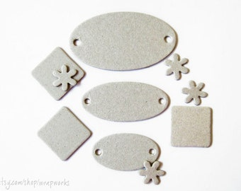 Chipboard Die Cuts - Squares, Flowers and Tags, set of 30 by Maya Road
