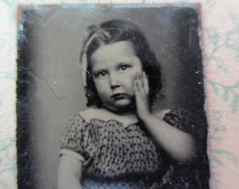 antique miniature gem tintype photo - 1800s, little girl with chubby cheeks, cupcake cutie pie