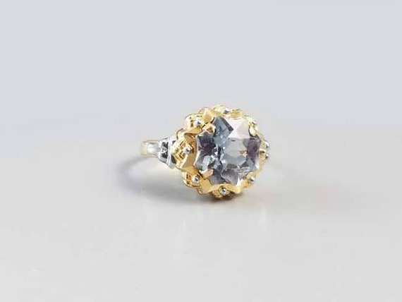 Vintage Retro Moderne 18K gold blue spinel fancy concave star cut ring size 7.5