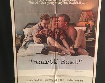 Original 1980 Heart Beat One Sheet Movie Poster, Nick Nolte, Sissy Spacek, John Heard, Threesome, Three Way Love Story