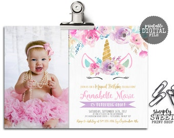Unicorn Birthday Invitation Invite Photo Picture Magical Floral Flower Unicorn Face Star Pink Teal Purple Gold Pretty Glitter Winter Horse