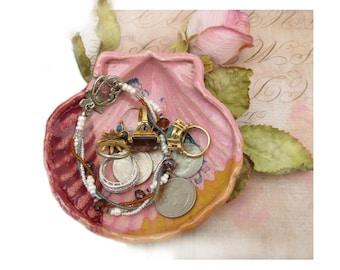 oyster shell dish  - shell jewelry dish , shell decor - shell trinket dish, handmade dish,  ( 35 )