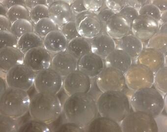 50pc Clear Round Glass Marble Gems 14mm  - vase fillers,  planters top dressing, wedding decor, aquarium