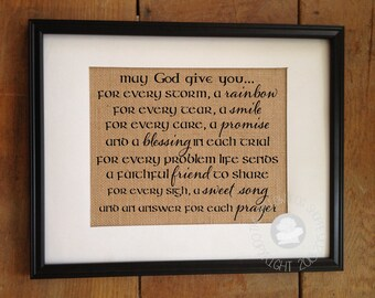 Irish Blessing, May God Give You | Burlap Print | St Patrick's Day | Housewarming Wedding Bridal Shower Gift | Frame not included