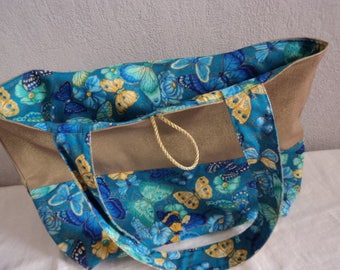 Tote bag canvas Golden Butterfly blue and yellow - gold Tote and blue and yellow - butterflies Tote gift idea