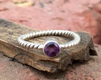 Natural African Amethyst Sterling Silver  Twisted Band Ring - Amethyst Ring - Amethyst Round Cut Ring - Handmade Amethyst  Ring