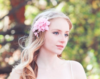 pink cherry blossom hair clip, bridesmaid accessory, flower girl accessories