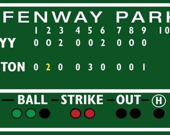 Boston decor, Fenway Park, Green Monster score board Game