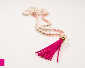 Delicate Necklace, Beaded Mala, Tassel Necklace, Boho Beaded Necklace, Buddhist Jewelry, Chakra Necklace, Yoga Necklace, Spiritual Gift
