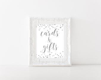 Cards & Gifts Sign Printable, Wedding Sign, 8x10 Printable Wedding Card Sign, Gift Table Sign, Bridal Shower, Wedding Decor Silver BRS2 BAS3
