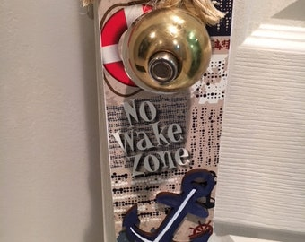 Antique Nautical 3d Anchor - NO WAKE ZONE- Door Hanger- Wood