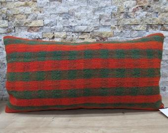 12x24 striped kilim pillow decorative pillow kilim pillow ethnic cushion aztec pillow 12x24 bolster bohemian pillow kilim pillow code 416