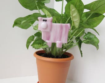 Pig Lover Garden Stake, Fused Glass Pink Piglet Plant Stake, Garden Gift, Unique Present For Any Occasion, Piggy Collector Item