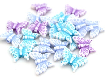 Mix 20 beads white and blue butterflies, purple 15mm acrylic