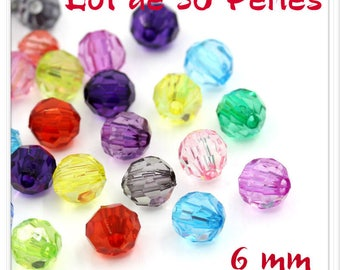 Set of 50 beads 6 mm mixed color acrylic bicone beads