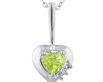 Peridot & Diamond Heart Pendant .925 Sterling Silver