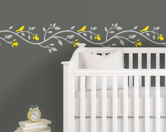 Children Wall Decal - Yellow Gray Nursery - Pink Gray Nursery - Tree Wall Decals for Nursery