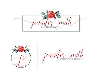 Coral Peony Flower Logo Watermark Branding Kit Package - design no. 175 - coral pink rose peony floral