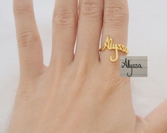 Handwriting Jewelry • Personalized Signature Ring in Sterling Silver • Custom Handwriting Ring • Custom Name Ring • VALENTINES GIFTS • RM01
